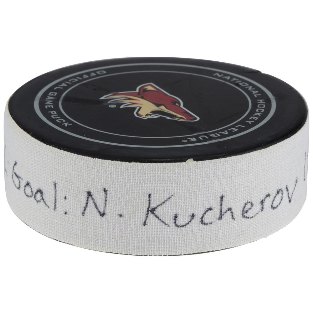 Nikita Kucherov Tampa Bay Lightning Game-Used Goal Puck vs. Arizona Coyotes on December 14, 2017