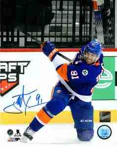 John Tavares - Signed 8x10 New York Islanders Blue Shooting Photo