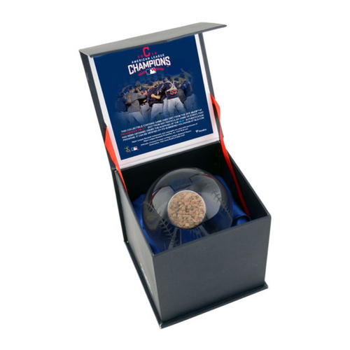 Photo of 2016 American League Champions Crystal Baseball with ALCS Game-Used Dirt