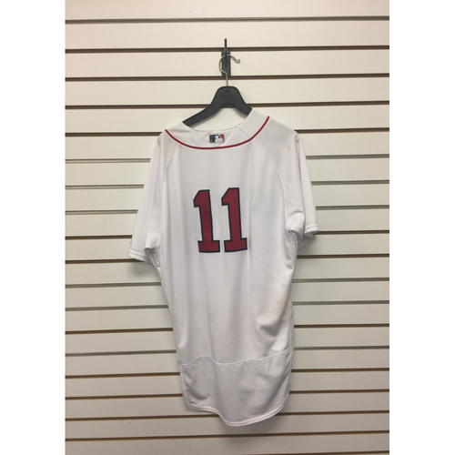 Photo of Rafael Devers Game-Used August 14, 2017 Home Jersey - Two Home Runs