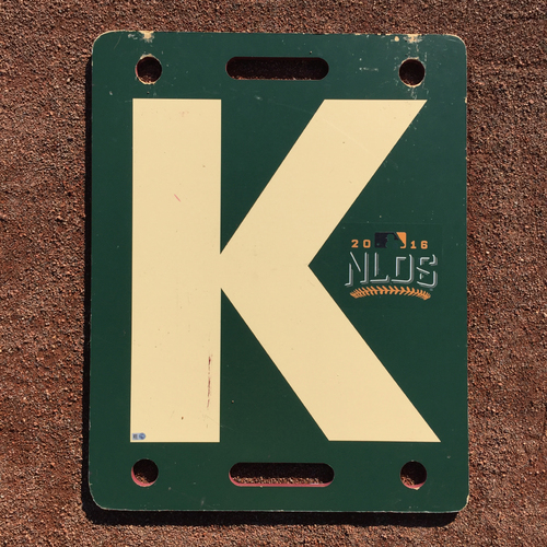 Photo of San Francisco Giants - 2016 Game-Used Strikeout K-Board - NLDS - Creme - Moore to Heyward (10/11) Strickland to Heyward (10/10)