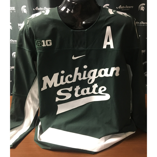 Authentic Michigan State Hockey Away #17 Green Taro Hirose Jersey