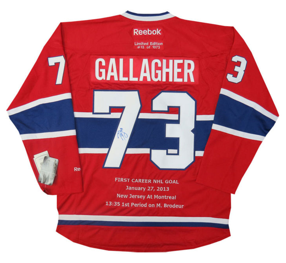 Brendan Gallagher Autographed Montreal Canadiens 1st Goal Limited Custom Embroidered Jersey