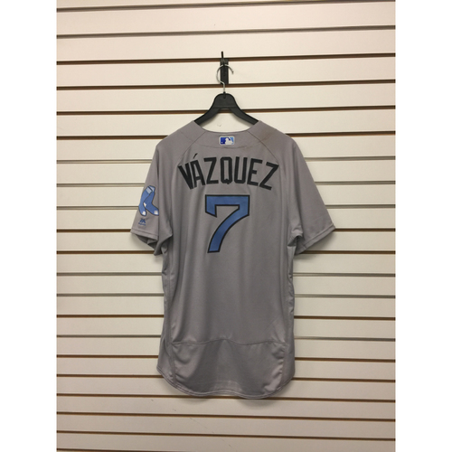 Photo of Christian Vazquez Game-Used June 18, 2017 Road Jersey