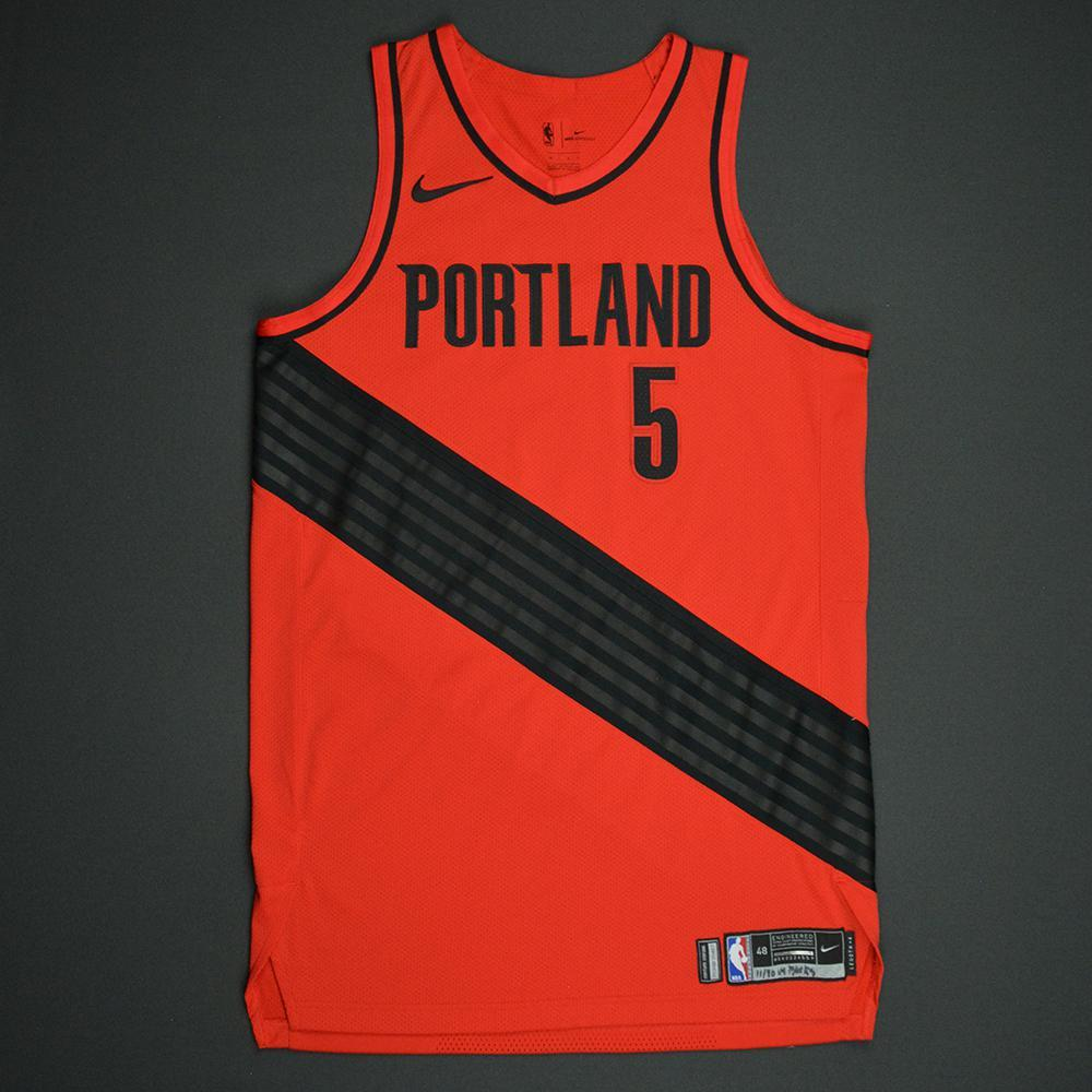 Pat Connaughton - Portland Trail Blazers - Statement Game-Worn Jersey - 2017-18 Season