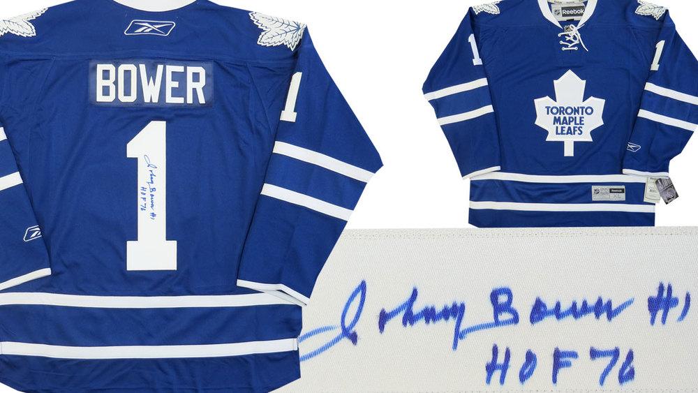 Johnny BOWER HOF 76 Autographed TORONTO MAPLE LEAFS NHL Hockey Jersey