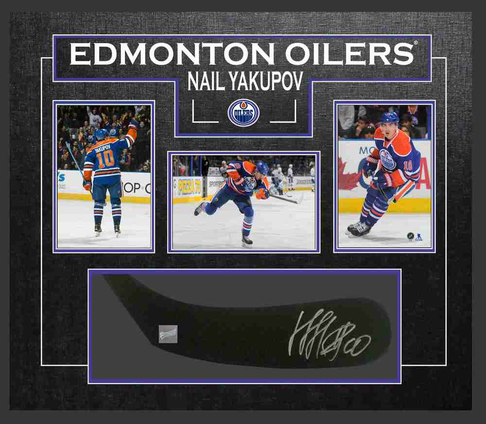 Nail Yakupov - Signed & Framed Stick Blade - Featuring Edmonton Oilers Photo Collection