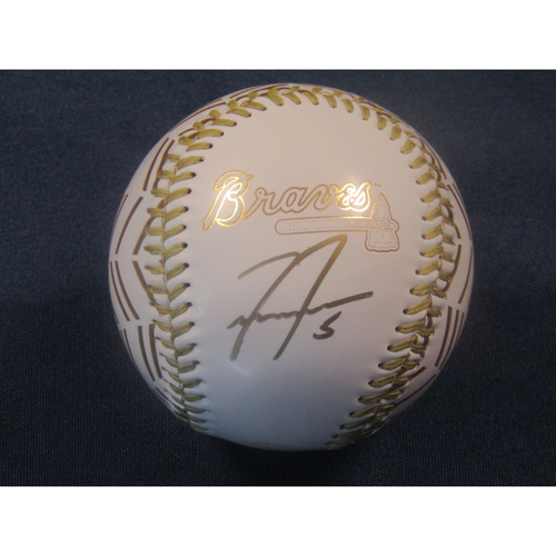 Photo of Childhood Cancer Awareness Month Auction - Freddie Freeman Autographed Gold Braves Themed Baseball