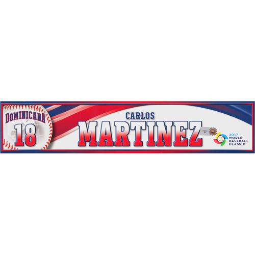 Photo of 2017 WBC Dominican Republic Game-Used Locker Tag: Carlos Martinez #18