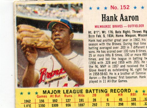 Photo of 1963 Jello #152 Hank Aaron