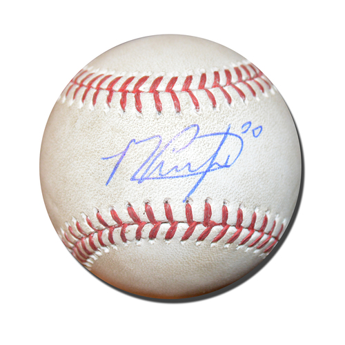 Photo of Michael Conforto #30 - Autographed Game Used Baseball - Matt Moore to Michael Conforto - Single - 5th Inning - Mets vs. Giants - 5/8/17