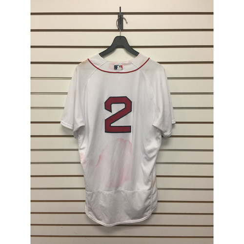 Photo of Xander Bogaerts Game-Used August 16, 2017 Home Jersey - Home Run