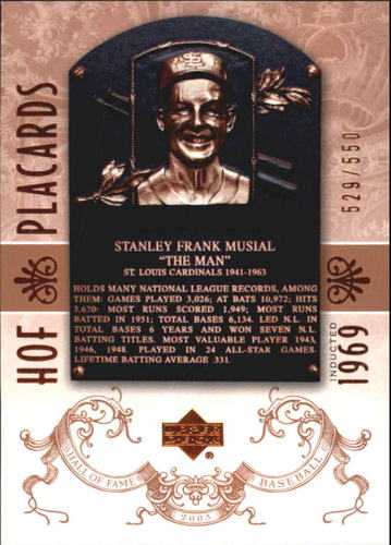 Photo of 2005 Upper Deck Hall of Fame #96 Stan Musial PC