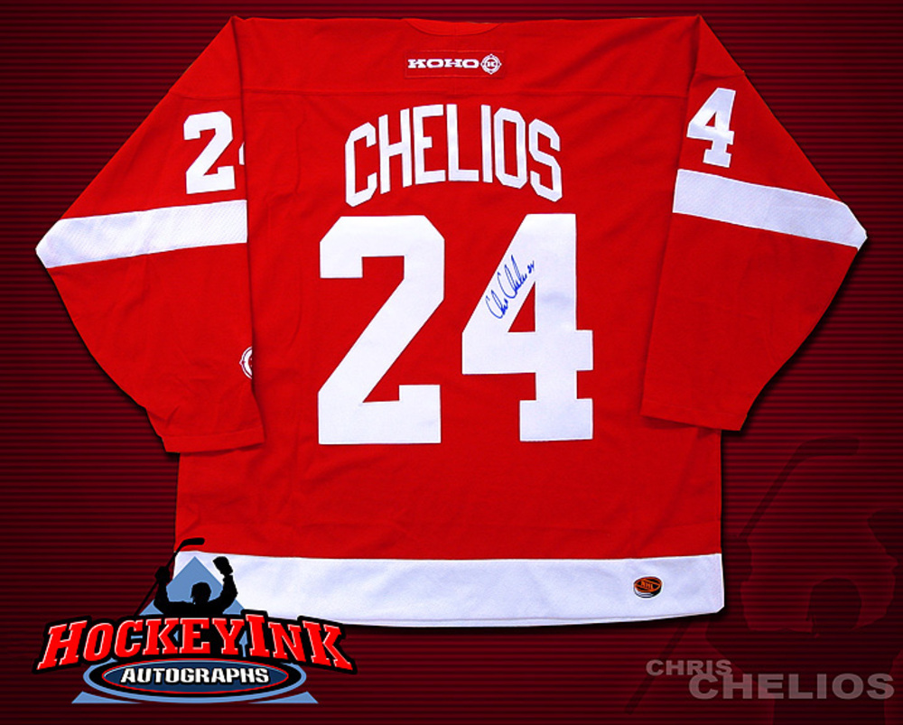 CHRIS CHELIOS Signed Red Detroit Red Wings CCM Jersey