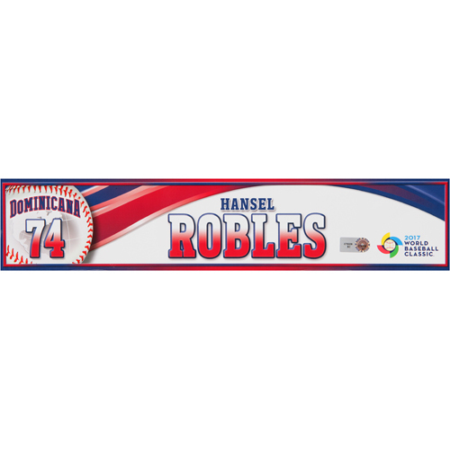 Photo of 2017 WBC Dominican Republic Game-Used Locker Tag: Hansel Robles #74