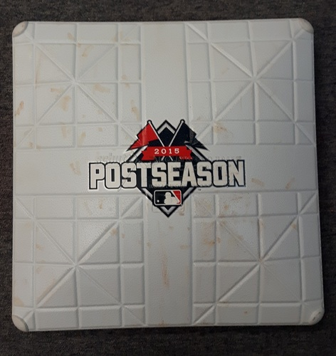 Photo of Authenticated Game Used Base - 1st base for Inning 9. ALCS Game 5 vs KC (October 21, 2015)