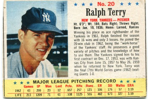 Photo of 1963 Post #20 Ralph Terry