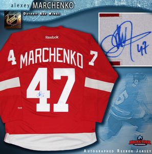 ALEXEY MARCHENKO Signed Detroit Red Wings Red Reebok Jersey