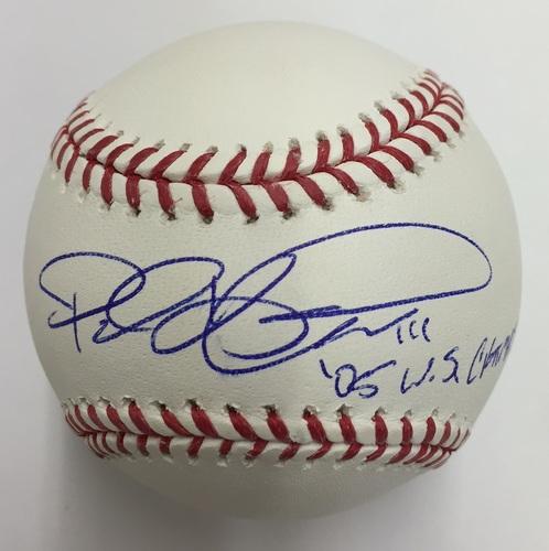 "Photo of Paul Konerko Autographed Official Major League Baseball with ""05 WS Champs"" Inscription"