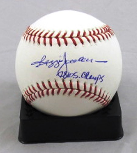 Photo of Reggie Jackson Autographed Official Major League Baseball with 78 WSC Inscription