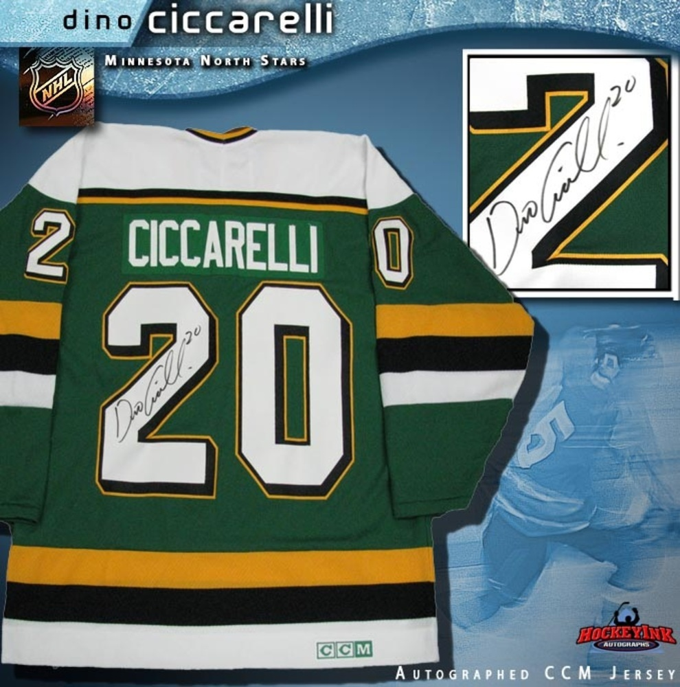 DINO CICCARELLI Signed Green Retro Minnesota North Stars CCM Jersey