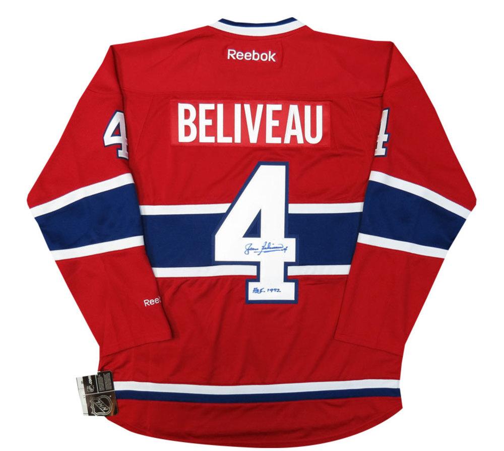Jean Beliveau Autographed HHOF Inscribed Signed Reebok NHL Hockey Jersey