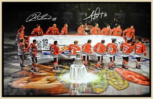 Patrick Kane & Jonathan Toews Dual Signed Framed Canvas Carrying Stanley Cup Banner