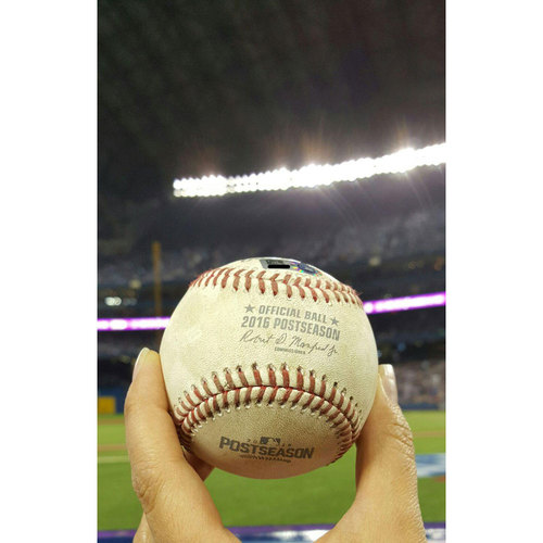 Photo of 2016 ALCS Game 4: Indians vs. Blue Jays - Game-Used - Player Collected Baseball: Corey Kluber to Josh Donaldson, Home Run -Bot 3 - 10/18/16