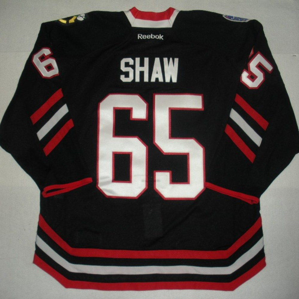 Andrew Shaw - 2014 Stadium Series - Chicago Blackhawks - Black Game-Worn Jersey - Worn in First Period