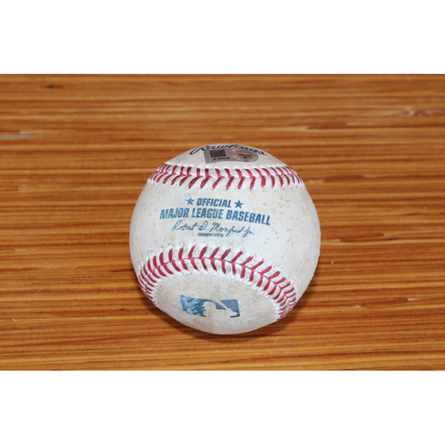 Photo of Game-Used Baseball: SF at KC - April 18, 2017 (Alex Gordon Double)
