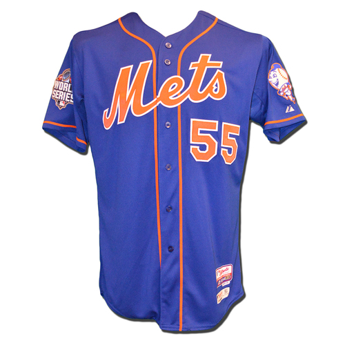 Photo of Kelly Johnson #55 - Game Used Blue Alternate Home Jersey - World Series Game 5 - Mets vs. Royals - 11/1/15