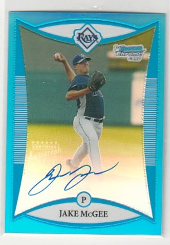 Photo of 2008 Bowman Chrome Prospects Blue Refractors #BCP274 Jake McGee AU