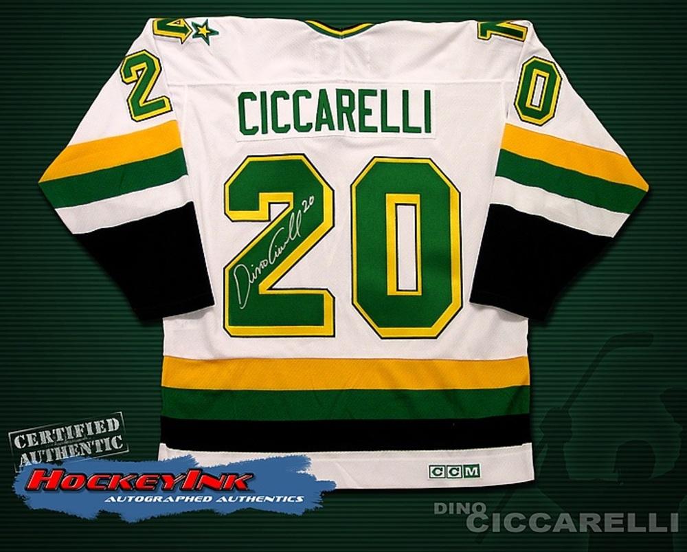 DINO CICCARELLI Signed White Minnesota Northstars Retro Jersey