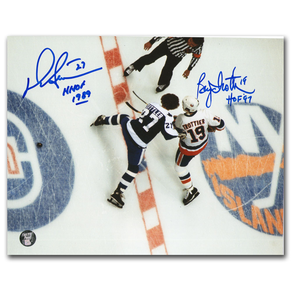 Darryl Sittler & Bryan Trottier Autographed 8X10 Photo (Toronto Maple Leafs vs. New York Islanders)