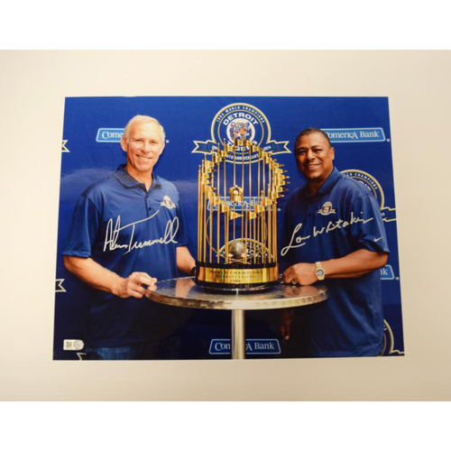 Photo of Alan Trammell and Lou Whitaker Autographed Detroit Tigers 1984 World Series Trophy 11x14 Photo