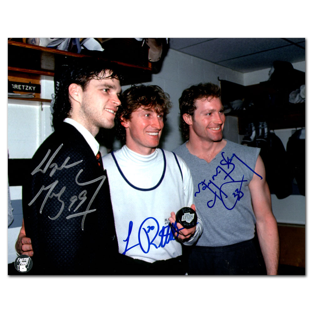 Wayne Gretzky, Luc Robitaille & Marty McSorley Autographed 8X10 Photo w/802 Goal Puck (Los Angeles Kings)