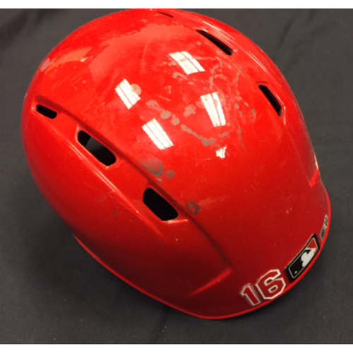 Photo of Game-Used Helmet - Tucker Barnhart - 10/2/16 CHC vs. CIN - Went 1-for-3, 2 RBI, R