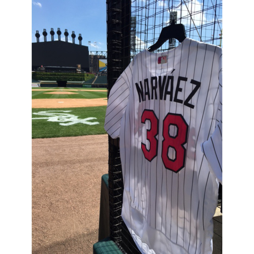Photo of Omar Narvaez Game-Used 2017 Mother's Day Jersey - Size 46