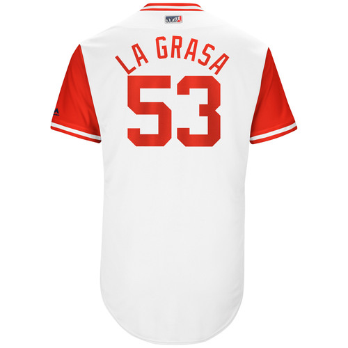 "Photo of Wandy ""La Grasa"" Peralta Cincinnati Reds Game-Used Players Weekend Jersey"