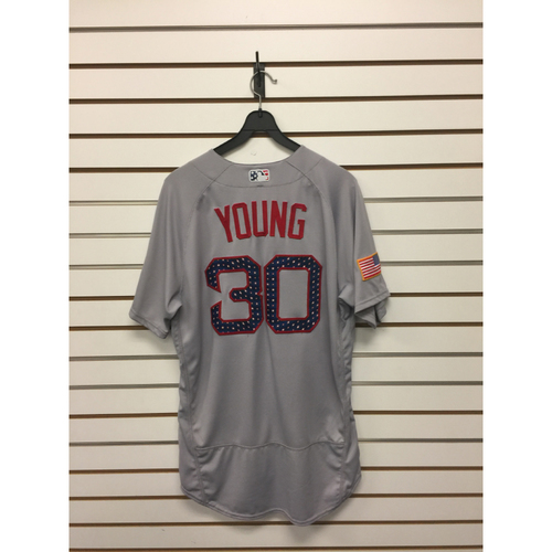 Photo of Chris Young Game-Used July 4, 2017 Road Jersey