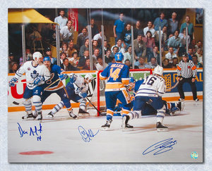 Doug Gilmour Andreychuk & Cujo - Triple Signed 1993 Leafs OT Goal 16x20 Photo