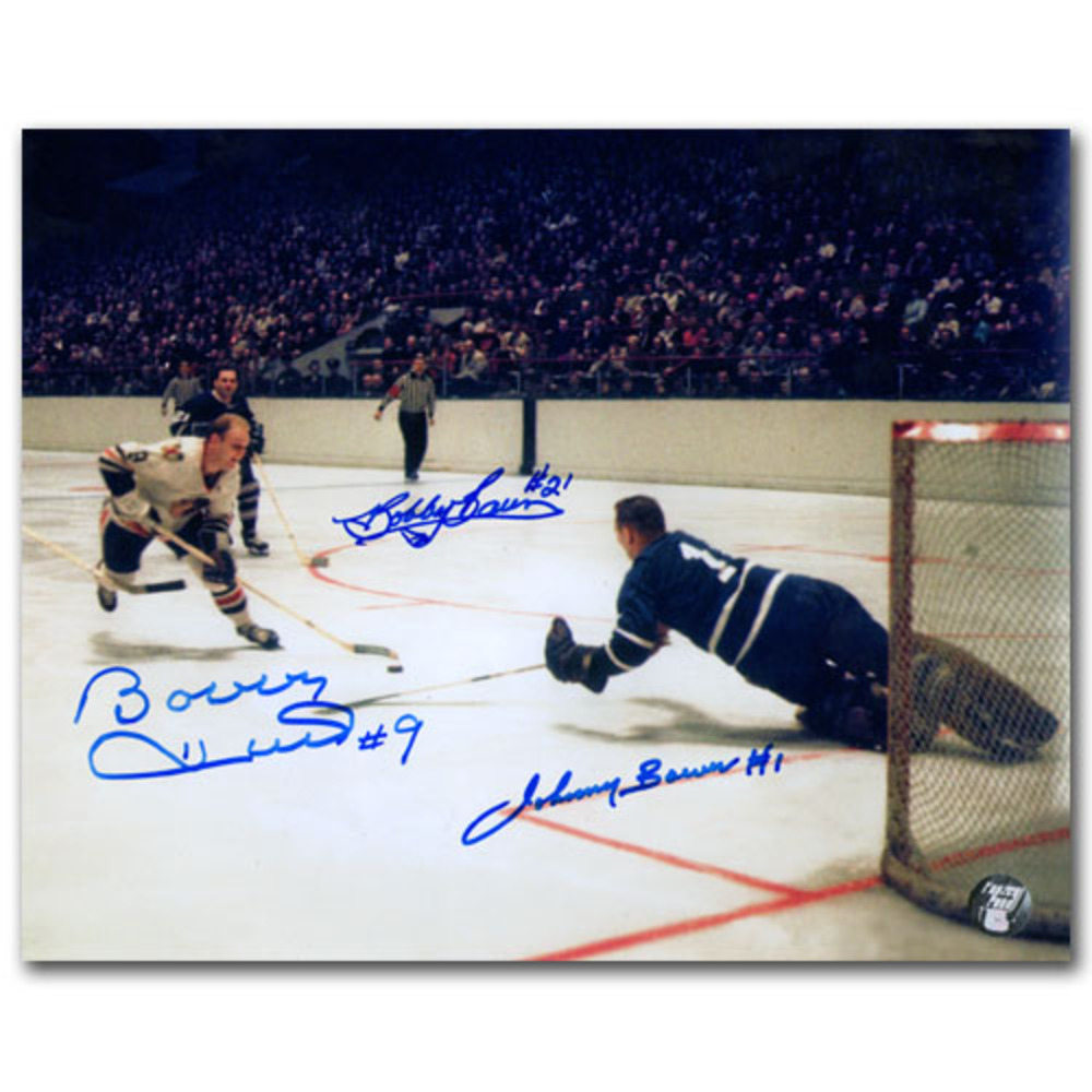 Bobby Baun, Johnny Bower & Bobby Hull Autographed 8X10 Combo Photo (Toronto Maple Leafs vs. Chicago Blackhawks)