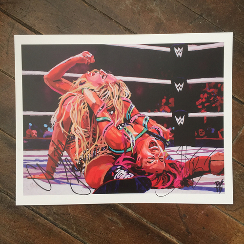 Sasha & Charlotte Flair SIGNED 11 x 14 Rob Schamberger Print