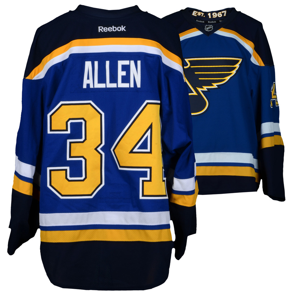 Jake Allen St. Louis Blues Game-Used Set 3 Home Jersey - Worn from February 4, 2016 Through March 29, 2016
