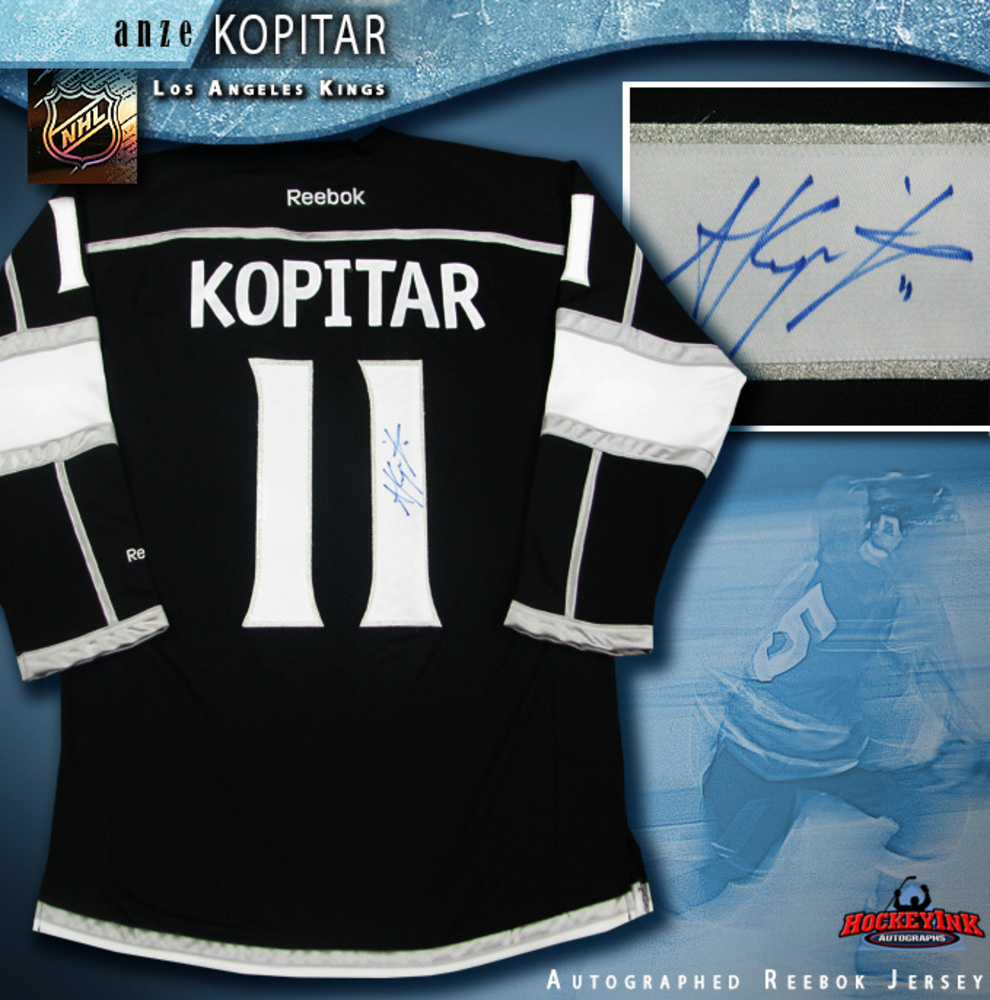 ANZE KOPITAR Signed Los Angeles Kings Black Reebok Jersey