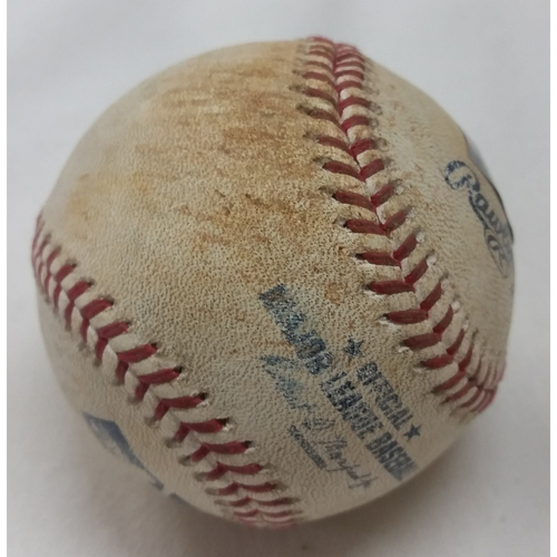 Photo of 2015 Game Used Baseball - Pitcher: Mluis Severino, Batter: Jace Peterson, Pitch in the Dirt
