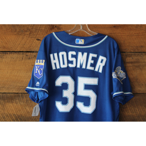 Photo of Eric Hosmer Game-Used Jersey: 3 Run RBI Top of 9th - KC at DET Sep 24, 2016 (100th Career RBI Game)