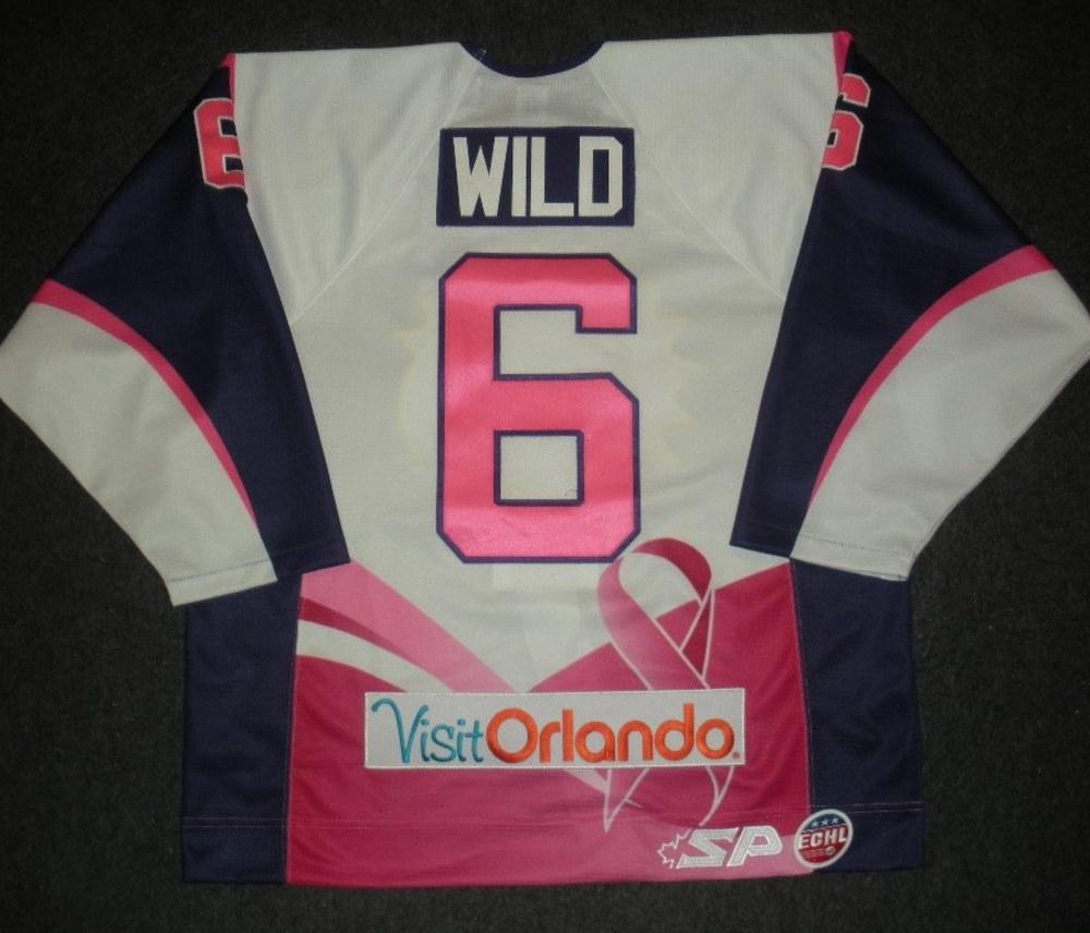 Cody Wild - Orlando Solar Bears - Hockey Fights Cancer Game-Worn Jersey