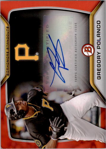 Photo of 2015 Bowman Sophomore Standouts Autographs Red #SSAGP Gregory Polanco #'d to 5