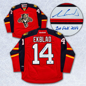 Aaron Ekblad Florida Panthers Autographed 2014 Draft Day Inscribed Jersey #/14